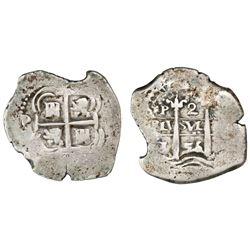 Potosi, Bolivia, cob 2 reales, 1656E, retrograde E (unique), ornament at top on pillars side (not PH