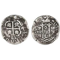 Potosi, Bolivia, cob 2 reales, 1685VR, Royal-like.