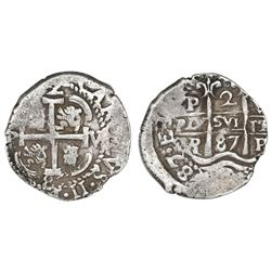 Potosi, Bolivia, cob 2 reales, 1687VR.