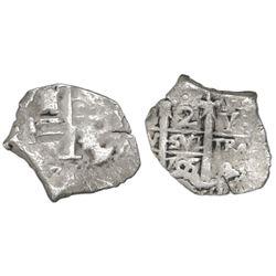 Potosi, Bolivia, cob 2 reales, 1705Y, unique error struck on a 1R planchet.