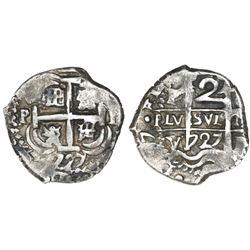 Potosi, Bolivia, cob 2 reales, 1727Y, (Louis I).