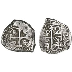 Potosi, Bolivia, cob 2 reales, 1746q.