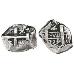 Potosi, Bolivia, cob 2 reales, 1773/2V-(Y), assayer V at bottom right (unique).