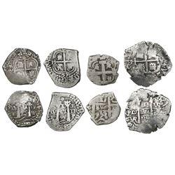 Lot of four Potosi, Bolivia, cob 1R, various periods, dates as follows: 1653E, 1655E, 1689VR and 175