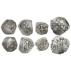 Lot of four Potosi, Bolivia, cob 1R, various periods, dates as follows: 1653E, 1655E, 1689VR and 175