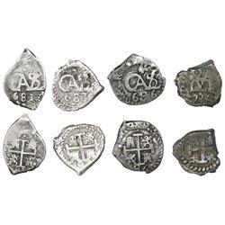 Lot of four Potosi, Bolivia, cob 1/2R, Charles II and Philip V, dates as follows: 1681, 1683, 1686 a