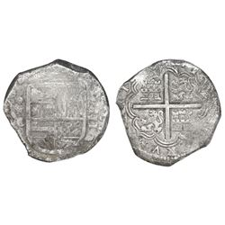 Cartagena, Colombia, cob 8 reales, Philip IV, assayer E below mintmark RN to left (1626-30), rare, P