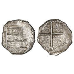 Cartagena, Colombia, cob 4 reales, Philip IV, assayer and mintmark not visible (RN-E to right).