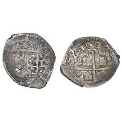 Bogota, Colombia, cob 1 real, 1627(P), PCGS F12, ex-Hubbard hoard, ex-Christensen, ex-Eldorado.