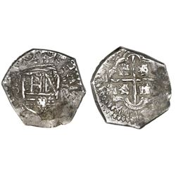 Bogota, Colombia, cob 1 real, Philip IV, assayer R to right, mintmark NR to left.