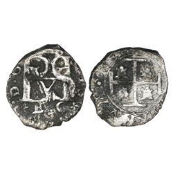 Cartagena, Colombia, cob 1/2 real, Philip IV, E-C (assayer-mintmark) below monogram, extremely rare,