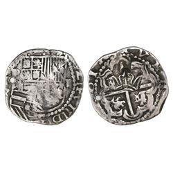 Guatemala, 2 reales, crown countermark (1662) on a Potosi, Bolivia, cob 2 reales, Philip III, assaye