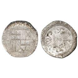 Seville, Spain, 4 reales, Ferdinand-Isabel, mintmark S to left, assayer Gothic D on reverse.