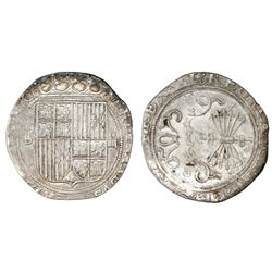 Seville, Spain, 4 reales, Ferdinand-Isabel, mintmark S to left, assayer Gothic D on reverse.