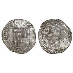 Granada, Spain, 2 reales, Ferdinand-Isabel, assayer R on reverse.