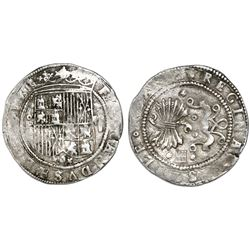 Segovia, Spain, 2 reales, Ferdinand-Isabel, assayer oP to left of shield, mintmark aqueduct and two