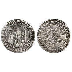 Granada, Spain, 1 real, Ferdinand-Isabel, mintmark G below yoke and arrows, tiny circlets flanking s