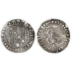 Granada, Spain, 1 real, Ferdinand-Isabel, mintmark G below yoke and arrows, tiny circlets flanking s