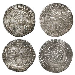 Lot of two Spain 1/2R Ferdinand-Isabel, Seville and Toledo mints (one each).