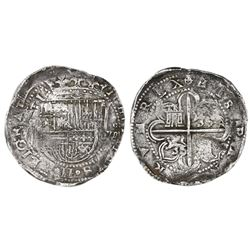 Seville, Spain, cob 8 reales, Philip II, assayer not visible.