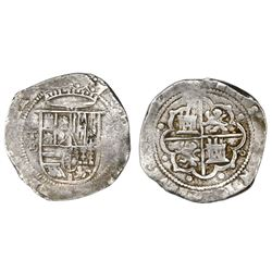 Toledo, Spain, cob 8 reales, Philip II, assayer M-in-circle below mintmark oT to left, denomination