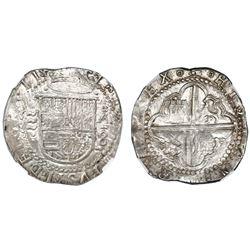 Valladolid, Spain, cob 8 reales, Philip II, assayer oA, rare, NGC MS 61.