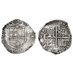 Seville, Spain, cob 4 reales, Philip II, assayer Gothic D at 4 o'clock outside tressure, fleur-de-li
