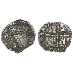 Seville, Spain, cob 1/2 real, 1588 date to right, assayer Gothic D below mintmark S to left.