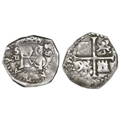 Seville, Spain, cob 1/2 real, (15)89/88 date to right, assayer Gothic D below mintmark S to left.