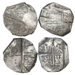 Lot of two Seville, Spain, cob 8 reales, Philip IV, assayers not visible, ex-Asian hoard.