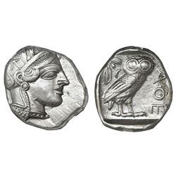 """Attica, Athens, AR tetradrachm, """"owl,"""" 440-404 BC, NGC Choice XF, strike 4/5 surface 4/5."""