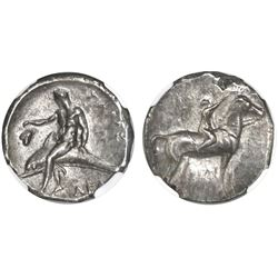 "Calabria, Taras, AR didrachm, ""boy on dolphin,"" 281-240 BC, NGC Choice XF, strike 4/5 surface 4/5."