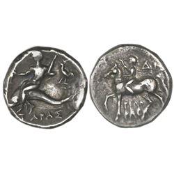 Calabria, Taras, AR nomos, circa 272-240 BC,  boy on dolphin.