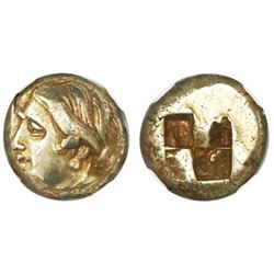 Ionia, Phocaea, electrum hecte, 387-326 BC, NGC Choice XF, strike 3/5 surface 4/5.