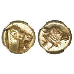 Lesbos, Mytilene, electrum hecte, 521-478 BC, NGC XF, strike 4/5 surface 4/5.