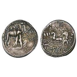 Roman Republic, AR denarius, 58 BC, M. Aemilius Scaurus and Pub. Plautius Hypsaeus.