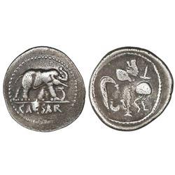 Roman Republic, AR denarius, Julius Caesar, military mint traveling with Caesar, ca. 49 BC.
