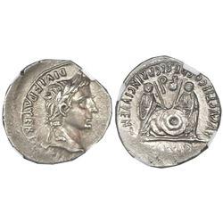 Roman Empire, AR denarius, Augustus Caesar, 27 BC to 14 AD, Lugdunum mint, NGC Choice AU, strike 3/5