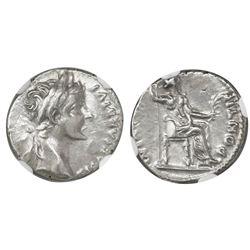 "Roman Empire, AR denarius ""tribute penny,"" Tiberius, 14-37 AD, Lugdunum mint, NGC AU, strike 3/5 sur"