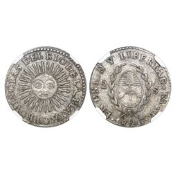 Argentina (River Plate Provinces), La Rioja mint, 2 soles, 1826P, medal alignment, NGC XF 45.