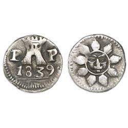 Cordoba, Argentina, 1/4 real, 1839PP, rare die variety (line below date).