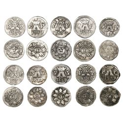Lot of 10 Cordoba, Argentina, 1/4R, 1839PP, different varieties.