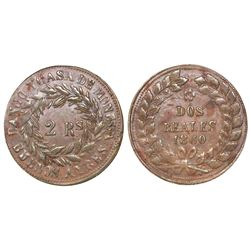 Buenos Aires, Argentina, copper 2 reales, 1860.