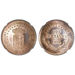 Patagonia and Araucania (New France), copper pattern 2 centavos, King Orllie-Antoine, 1874, NGC MS 6