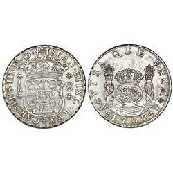 Potosi, Bolivia, pillar 8 reales, Charles III, 1768JR, four-petal rosettes.