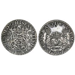 Potosi, Bolivia, pillar 4 reales, Charles III, 1767JR, six-petal rosettes, rare.