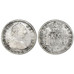 Potosi, Bolivia, bust 8 reales, Charles III, 1776PR.