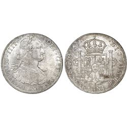 Potosi, Bolivia, bust 8 reales, Charles IV, 1804PJ.