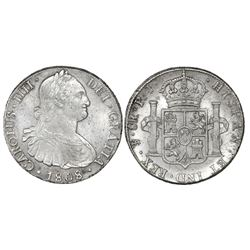 Potosi, Bolivia, bust 8 reales, Charles IV, 1808PJ.