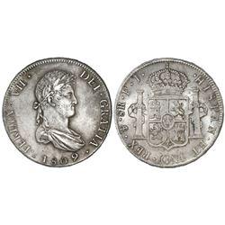 Potosi, Bolivia, bust 8 reales, Ferdinand VII, 1809PJ.